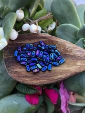 CzechMates TWO HOLE BRICKS 3X6MM-  IRIS BLUE