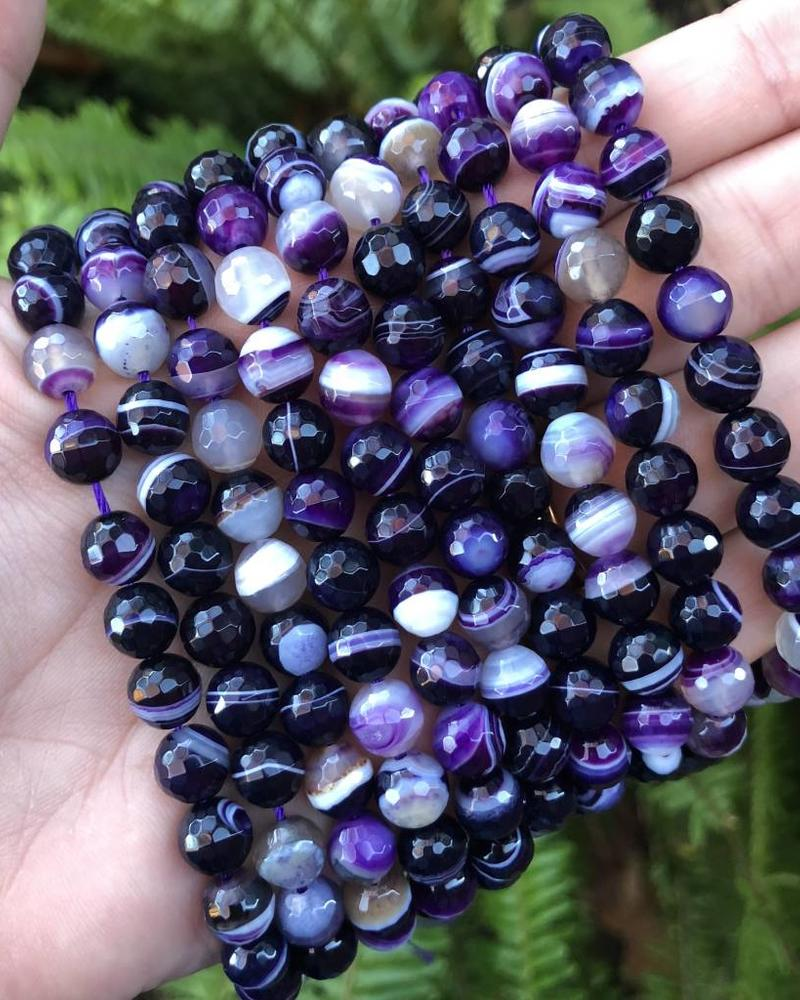 8mm Faceted Round Purple Agate