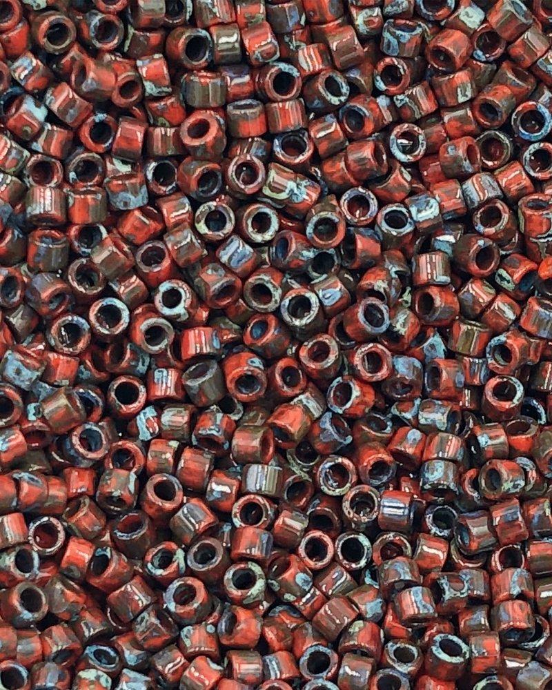 11/0 DELICA OPAQUE RED GARNET  PICASSO