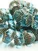 14x10mm Wavy Rondelle Beads- Transparent Aqua Picasso