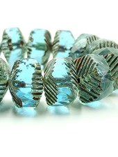 14x10mm Wavy Rondelle Beads- Transparent Aqua Picasso