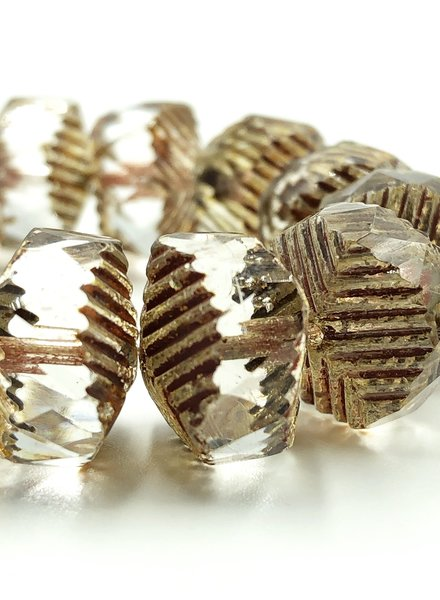 14x10mm Wavy Rondelle Beads- Transparent Picasso