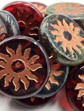 22mm Sun Coin- Ruby Red Picasso Finish Copper Wash- 1 Bead