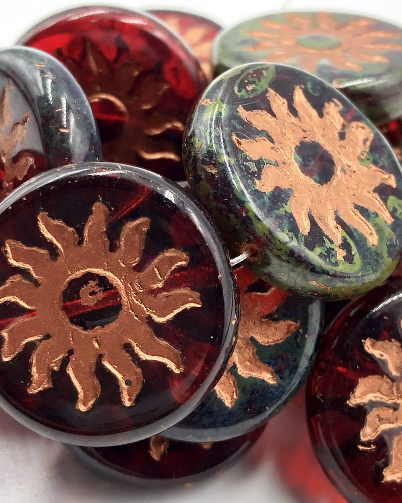 22mm Sun Coin- Ruby Red Picasso Finish Copper Wash