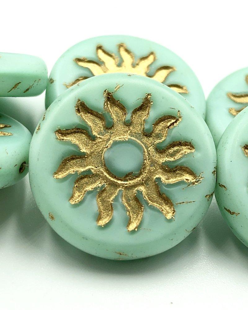 22mm Sun Coin- Matte Mint Gold Wash