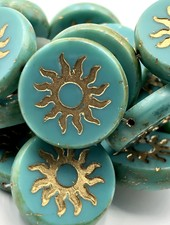 22mm Sun Coin-Sea Green Gold Wash Picasso