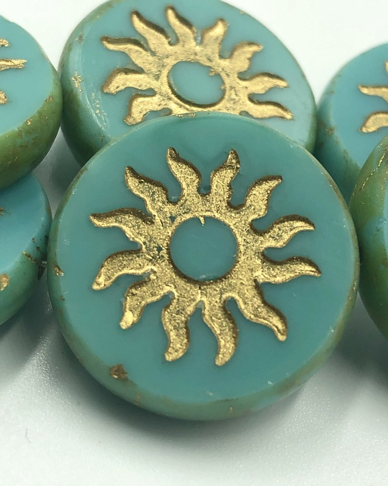 22mm Sun Coin-Sea Green Gold Wash Picasso- 1 Bead