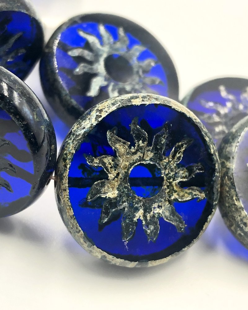 22mm Sun Coin- Transparent Sapphire Picasso- 1 BEAD
