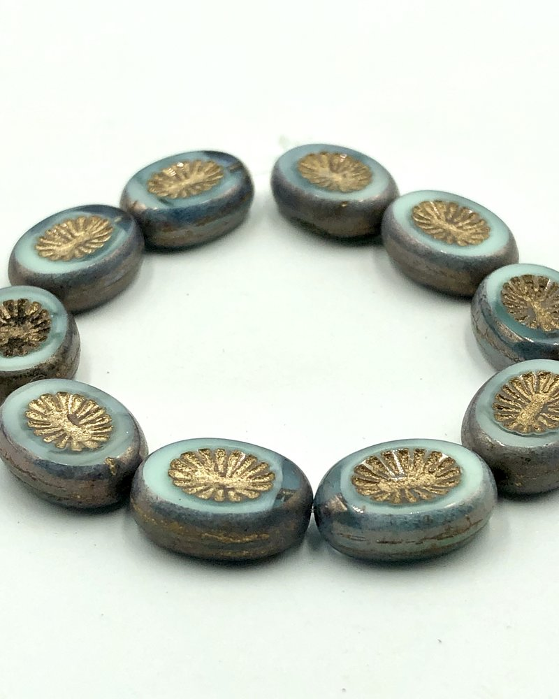 14x10mm Carved Oval- Blue Green