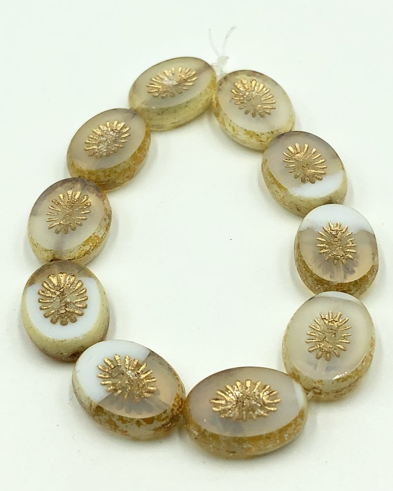 14x10mm Carved Oval- White & Yellow Ivory Gold Wash