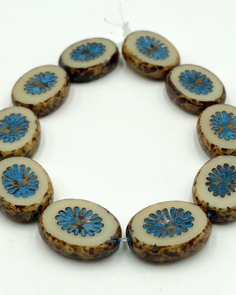 14x10mm Carved Oval- Beige Turquoise Wash