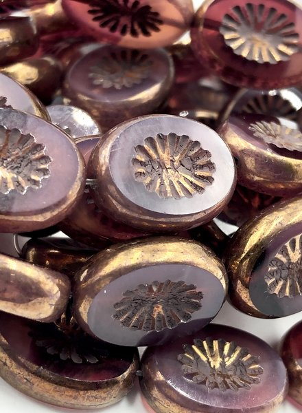 14x10mm Carved Oval- Rosewood Gold Brown