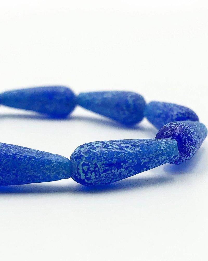 6x15mm Dangle Drop- Cobalt Turquoise Wash Etched