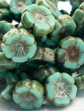 12mm Hawaiian Flower- Green Turquoise