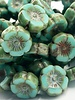12mm Hawaiian Flower- Green Turquoise