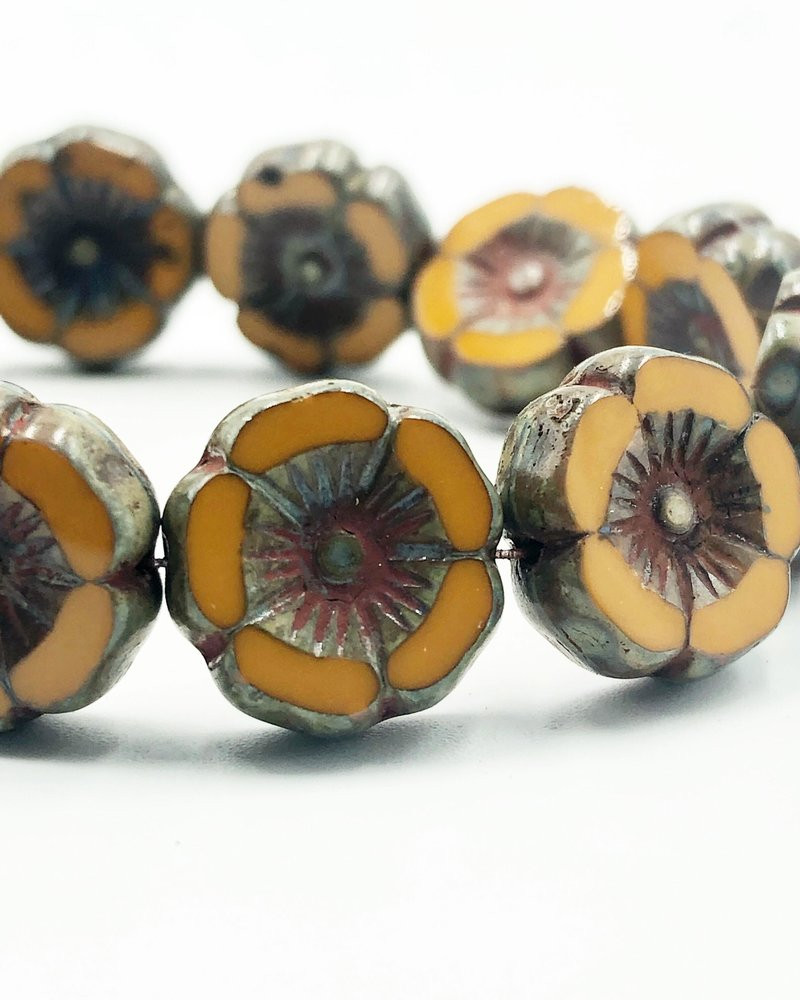 12mm Hawaiian Flower- Orange Mustard