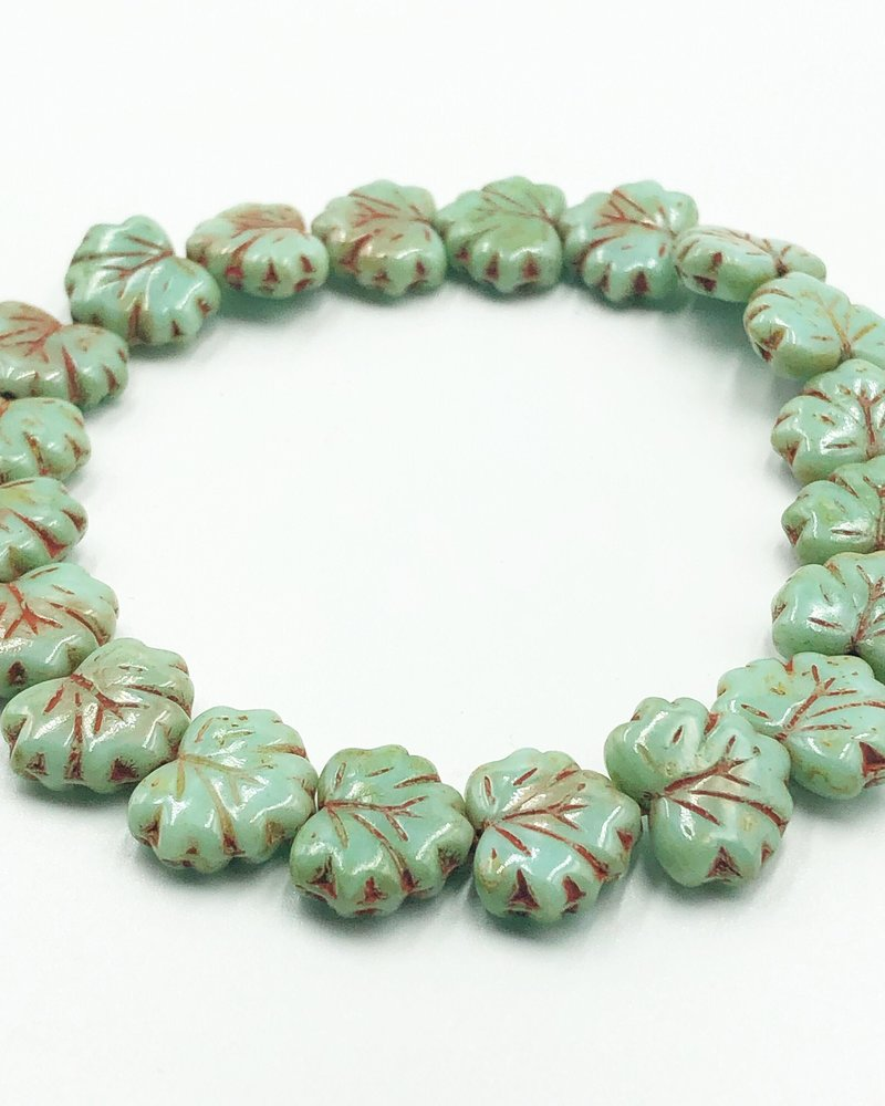10x13mm Maple Leaf - Turquoise Picasso