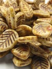 12x16mm Dogwood Leaves Honey Picasso