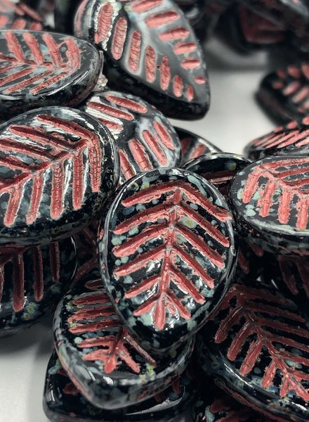 16x12mm Leaf Beads- Black Picasso Coral Wash