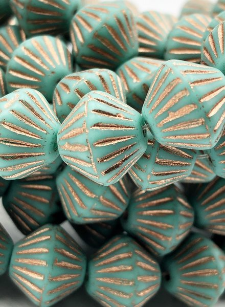 11mm Bicone- Turquoise copper