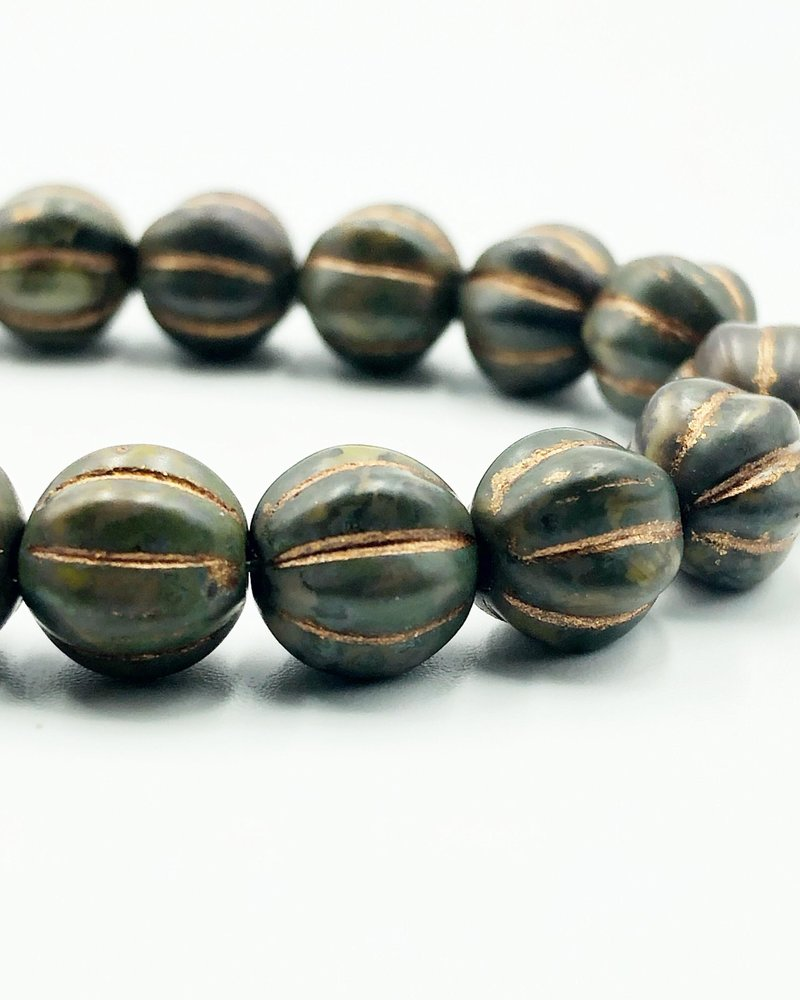 8mm Melon- Artichoke Picasso Copper Wash