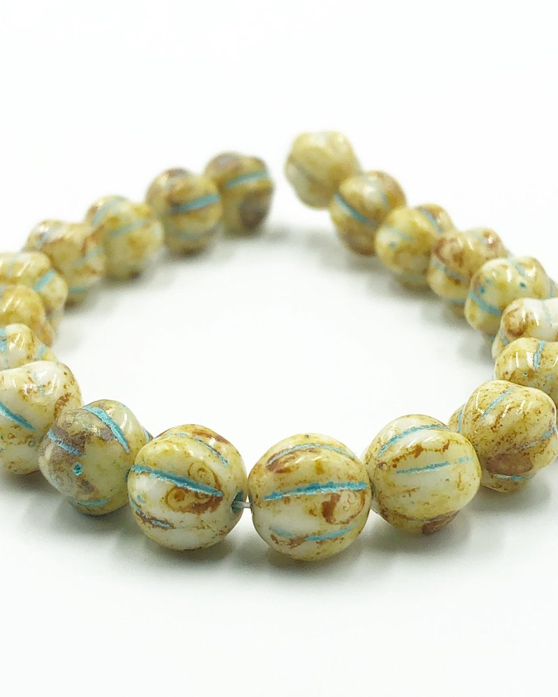 8mm Melon- Honey Picasso Turquoise Wash