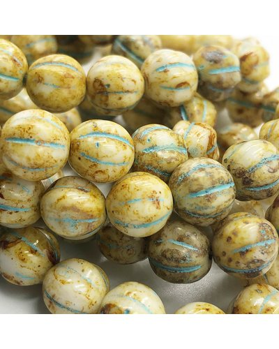 Czech Glass Ridged Melon Beads Honey with Picasso Finish and Turquoise Wash 20 Beads 8mm