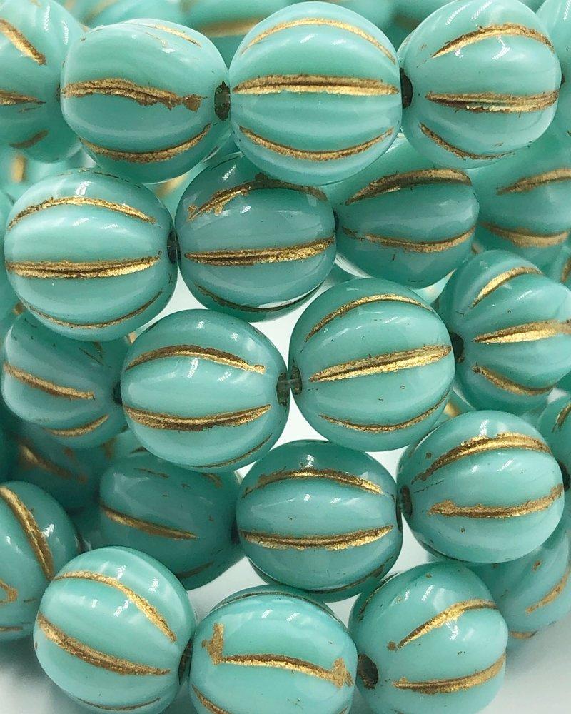 8mm Melon- Teal Blue Gold Wash