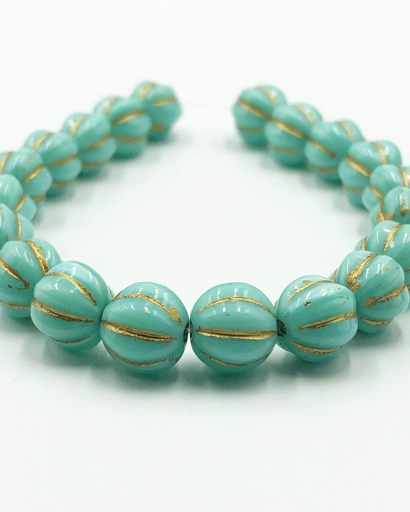 8mm Melon- Teal Blue Gold Wash