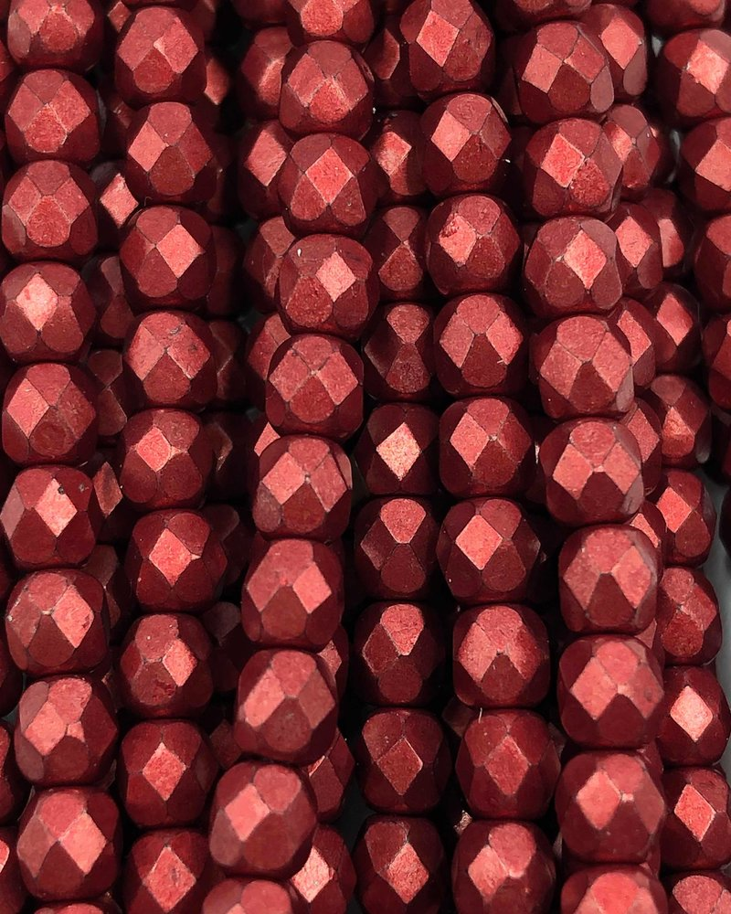 Firepolish 4mm : ColorTrends: Saturated Metallic Cherry Tomato