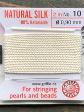 SILK BEAD CORD- WHITE-  #10