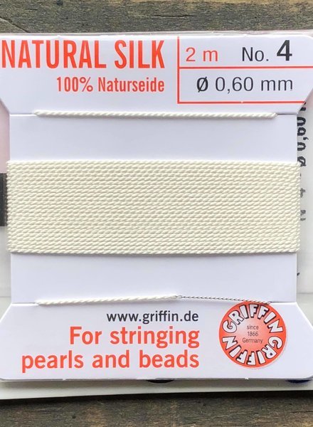 SILK BEAD CORD- WHITE-  #4