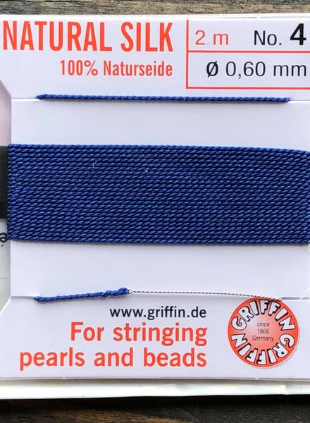 SILK BEAD CORD- DARK BLUE- #4