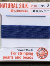 SILK BEAD CORD- DARK BLUE-  #2