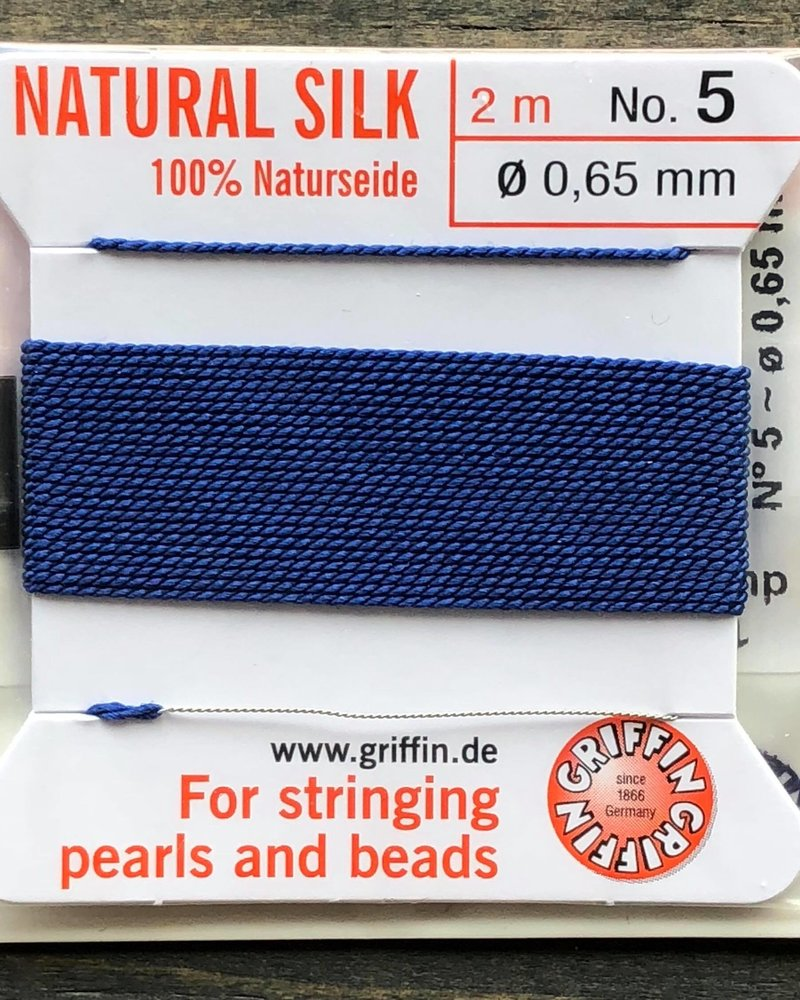 SILK BEAD CORD- DARK BLUE-  #5