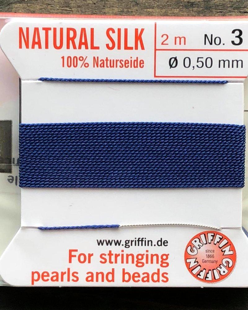 SILK BEAD CORD- DARK BLUE-  #3