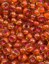 SIZE 6/0 #85 Citrine Red Lined