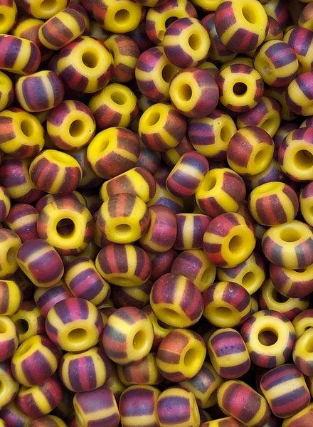 SIZE 6/0 #835 Yellow Brown Red Multi Stripe Matte Rainbow