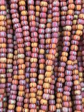 SIZE 11/0 #547 Brown White Black Stripe Matte Rainbow