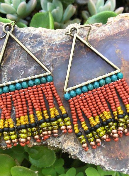 Beaded Triangle Earrings