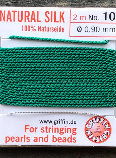 SILK BEAD CORD- GREEN-  #10