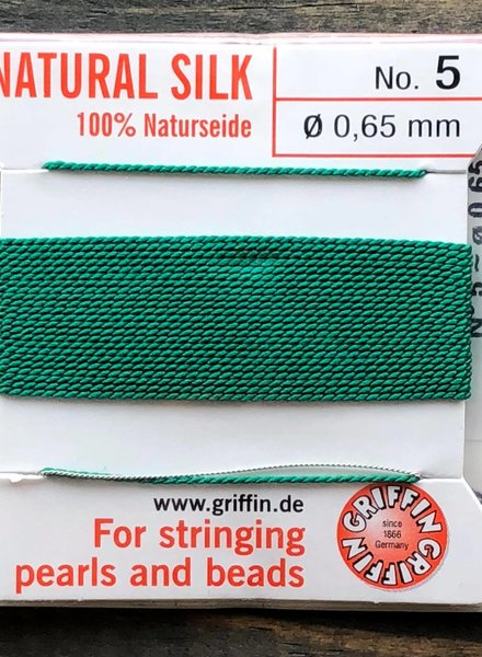 SILK BEAD CORD- GREEN-  #5