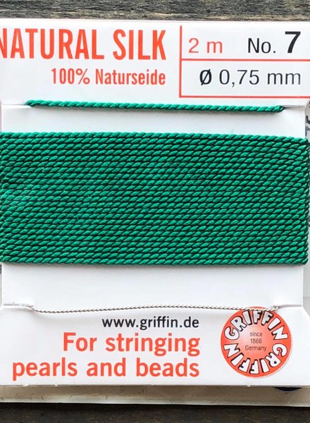 SILK BEAD CORD- GREEN-  #7