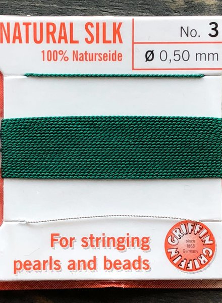 SILK BEAD CORD- GREEN- #3