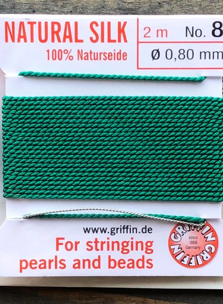 SILK BEAD CORD- GREEN- #8