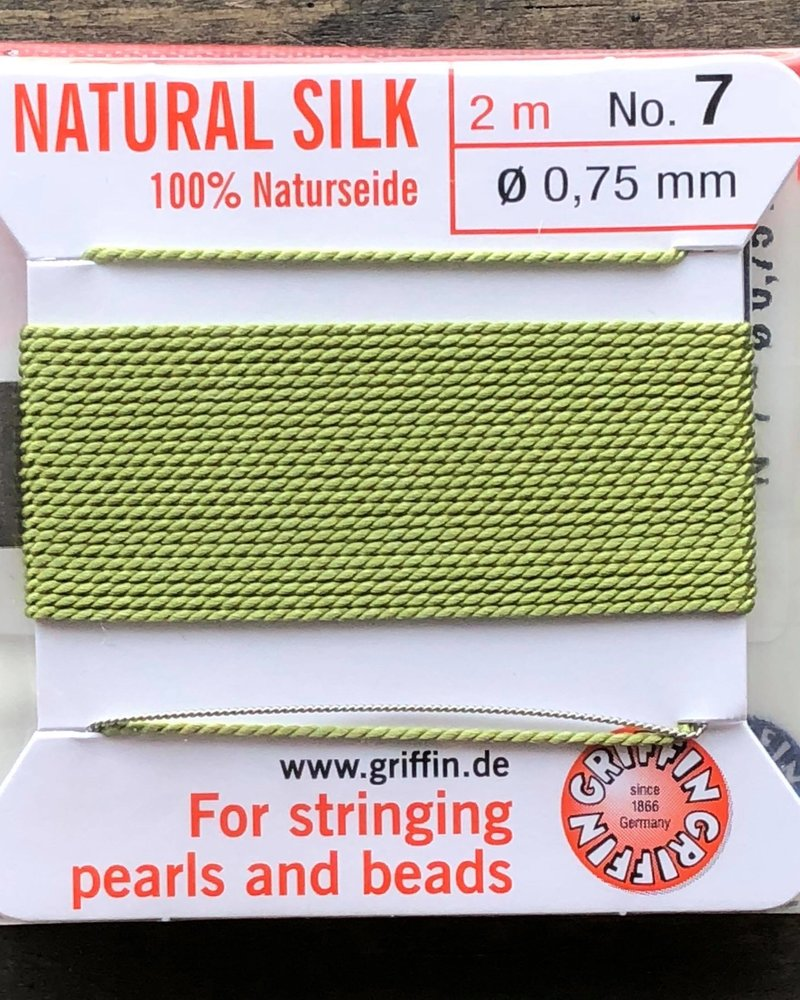 SILK BEAD CORD- JADE GREEN-  #7