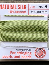 SILK BEAD CORD- JADE GREEN-  #8