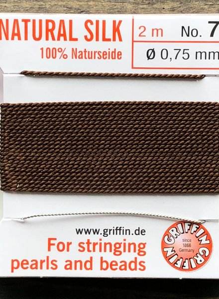SILK BEAD CORD- BROWN-  #7