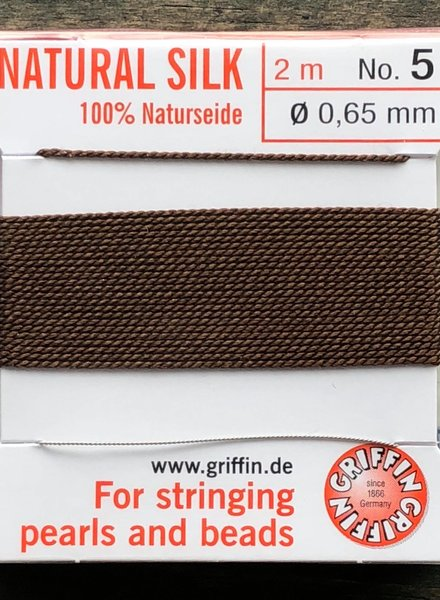 SILK BEAD CORD- BROWN-  #5