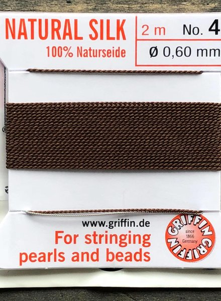 SILK BEAD CORD- BROWN-  #4